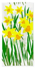 Daffodils Drawing Beach Sheet by Barbara Moignard