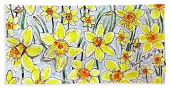 Beach Towel featuring the painting Daffodils by Monique Faella