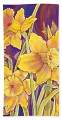 Beach Sheet featuring the mixed media Daffodils by Teresa Ascone