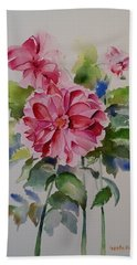 Beach Sheet featuring the painting Dahlias Still Life Flowers by Geeta Biswas