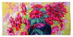 Daisies And Blue Vase Beach Towel