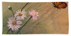Daisies And Butterfly Beach Towel