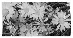 Daisies Black And White Beach Sheet