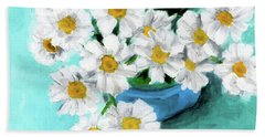 Daisies In Blue Bowl Beach Towel