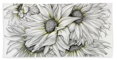 Sunflowers Pencil Beach Towel
