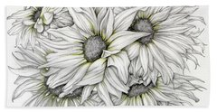 Sunflowers Pencil Beach Towel