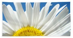 Daisy Art Prints White Daisies Flowers Blue Sky Beach Towel