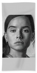 Daisy Ridley Pencil Drawing Portrait Beach Towel