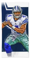 Dak Prescott Dallas Cowboys Oil Art Beach Towel
