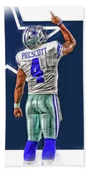 Dak Prescott Dallas Cowboys Oil Art Series 2 Beach Towel