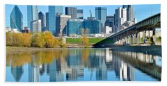 Dallas Above The Trinity River Beach Towel by Frozen in Time Fine Art Photography