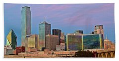 Dallas At Dusk Beach Towel by Frozen in Time Fine Art Photography