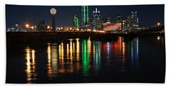Dallas At Night Beach Towel by Kathy Churchman