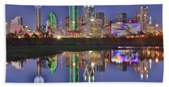 Dallas Blue Hour Beach Towel by Frozen in Time Fine Art Photography