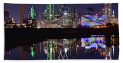 Dallas Reflecting At Night Beach Sheet by Frozen in Time Fine Art Photography