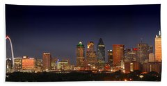 Dallas Skyline At Dusk Big Moon Night  Beach Sheet