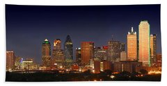 Dallas Skyline At Dusk  Beach Towel