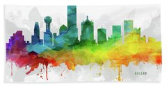 Dallas Skyline Mmr-ustxda05 Beach Towel by Aged Pixel