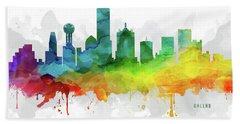 Dallas Skyline Mmr-ustxda05 Beach Towel by Aged Pixel