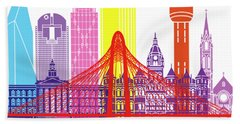 Dallas Skyline Pop Beach Towel by Pablo Romero