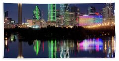 Dallas Skyline Reflection 91317 Beach Towel
