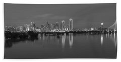 Dallas Skyline Trinity Black And White Beach Towel