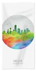 Dallas Skyline Ustxda20 Beach Towel by Aged Pixel