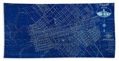 Dallas Texas Official 1875 City Map Blueprint Butterfield And Rundlett Beach Towel