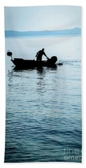 Dalmatian Coast Fisherman Silhouette, Croatia Beach Towel