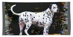 Dalmatian On The Rocks Beach Towel by Wendy McKennon