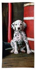 Dalmatian Puppy With Fireman's Helmet  Beach Towel by Garry Gay