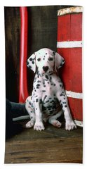Dalmatian Puppy With Fireman's Helmet  Beach Sheet