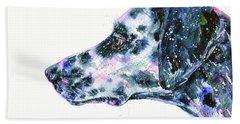 Beach Towel featuring the painting Dalmatian by Zaira Dzhaubaeva