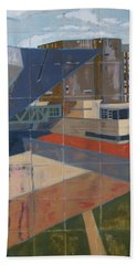 Beach Towel featuring the painting Dam Museum by Erin Fickert-Rowland