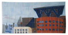 Beach Towel featuring the painting Dam Public Library by Erin Fickert-Rowland