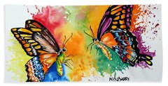 Dance Of The Butterflies Beach Sheet by Maria Barry