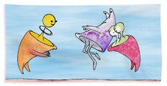 Dance Party Monsters Watercolor Beach Towel