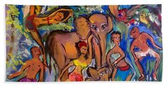 Dance With Elephants  Beach Sheet by Judith Desrosiers