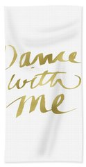 Dance With Me Gold- Art By Linda Woods Beach Towel