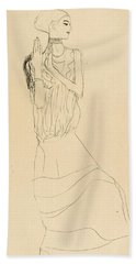 Dancer With Necklace. Study For The Dancer From The Stoclet-frieze Beach Towel