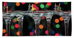 Dancers On Wine Glasses Beach Sheet