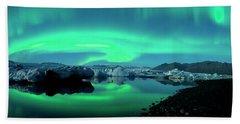 Dancing Auroras Jokulsarlon Iceland Beach Towel by Brad Scott
