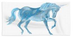 Dancing Blue Unicorn Beach Towel