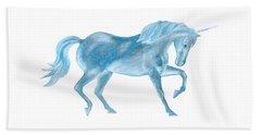 Beach Towel featuring the mixed media Dancing Blue Unicorn by Elizabeth Lock
