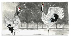 Dancing Crane II Beach Towel