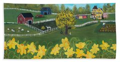 Beach Towel featuring the painting Dancing Daffodils by Virginia Coyle