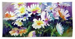 Beach Towel featuring the painting Dancing Daisies by Kathy Braud