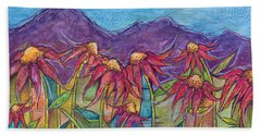 Beach Sheet featuring the painting Dancing Flowers by Tanielle Childers