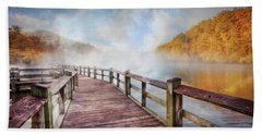 Beach Towel featuring the photograph Dancing Fog At The Lake by Debra and Dave Vanderlaan