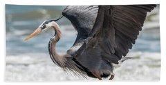 Dancing Heron #2/3 Beach Sheet by Patti Deters